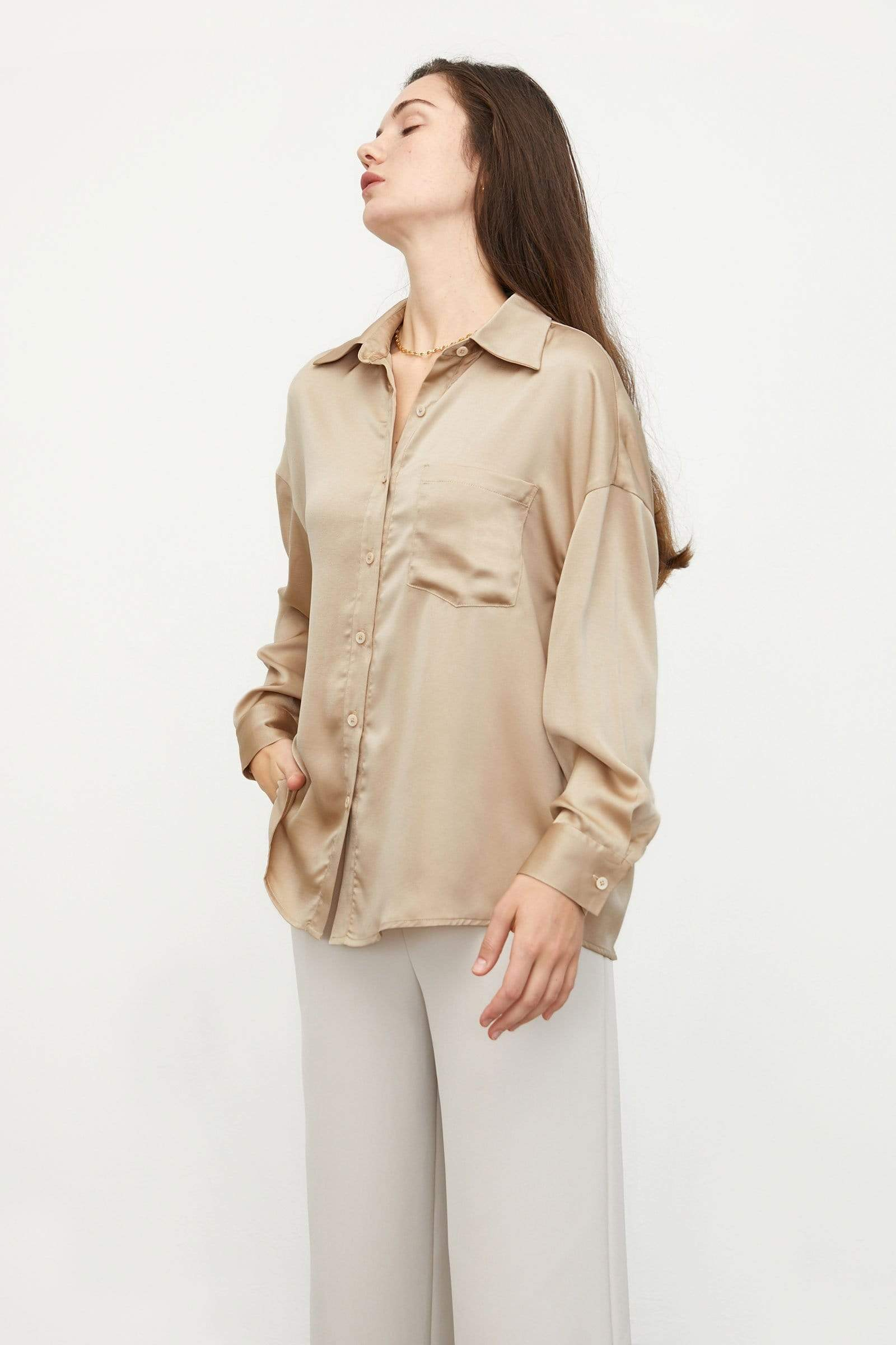 Silky Champagne Button-Up Blouse