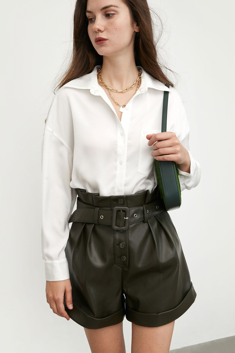 Silky White Button-Up Blouse