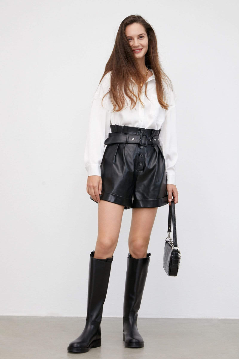 Torre Black Leather Belted Shorts