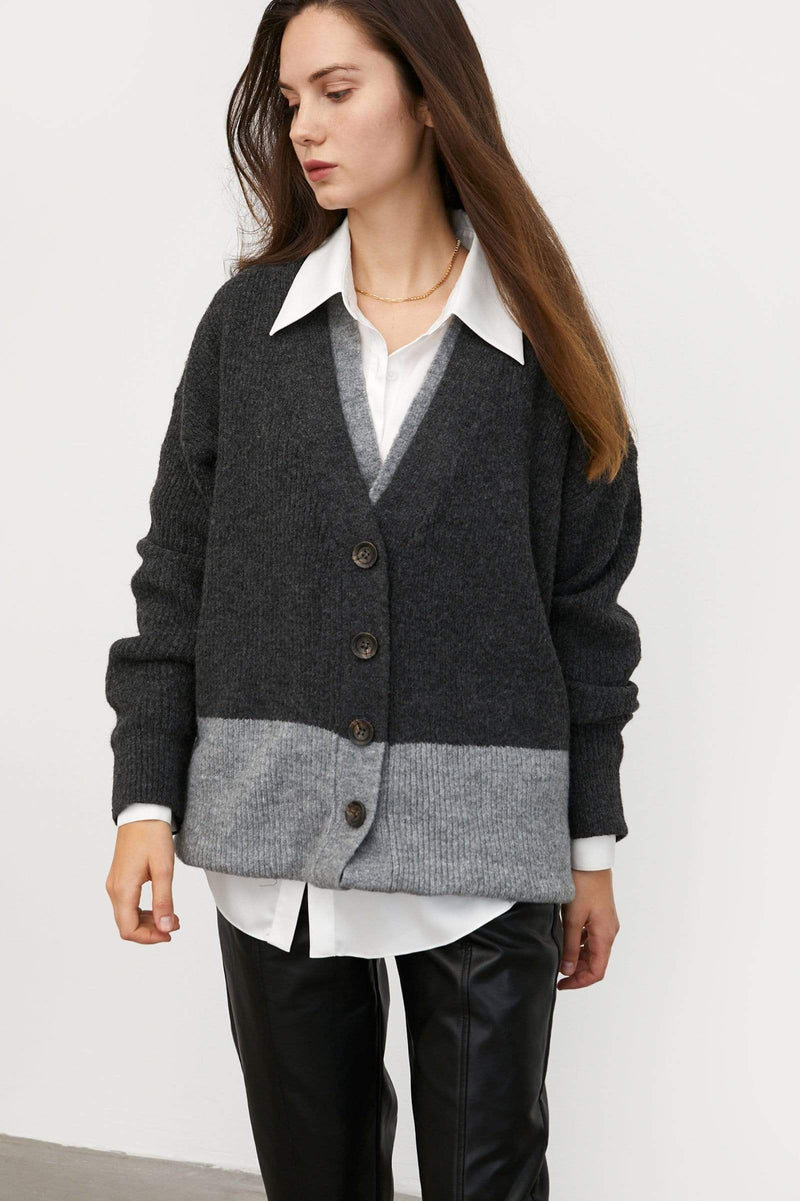 Preppy Grey Mixed Cardigan