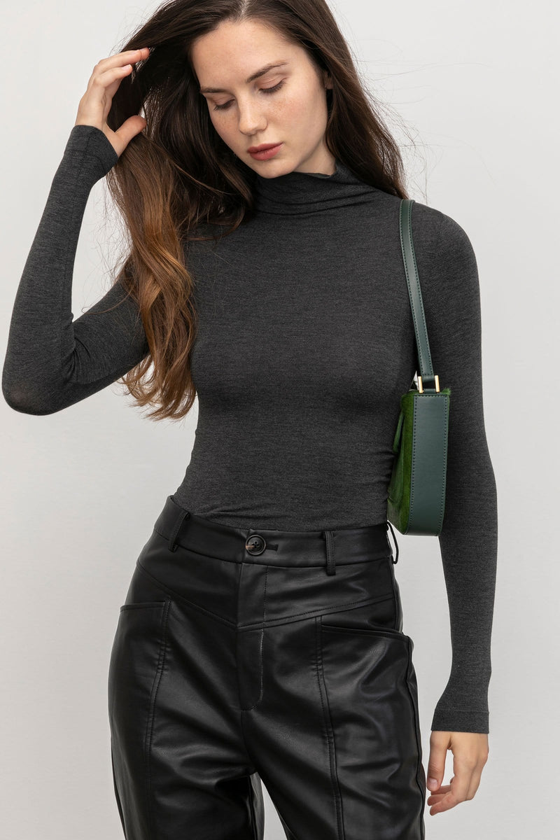 Essential Charcoal Slim Turtleneck