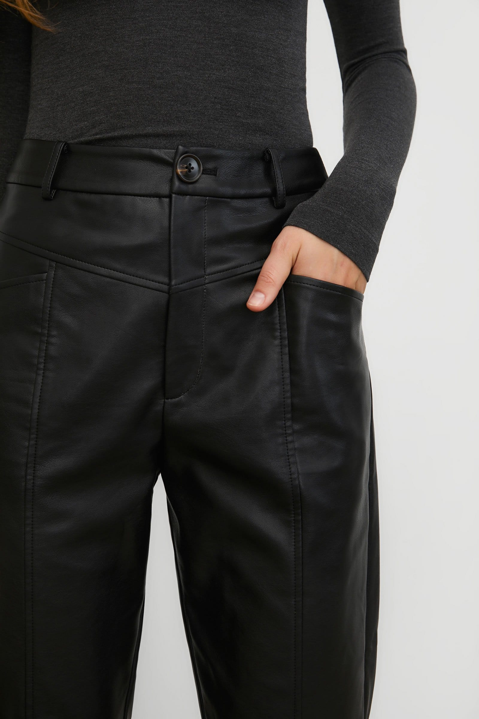 Steph Black Leather Trousers
