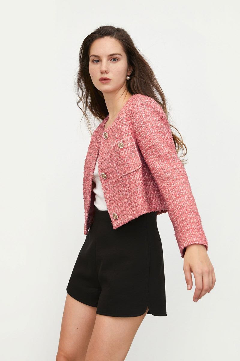Cora Pink Tweed Coat