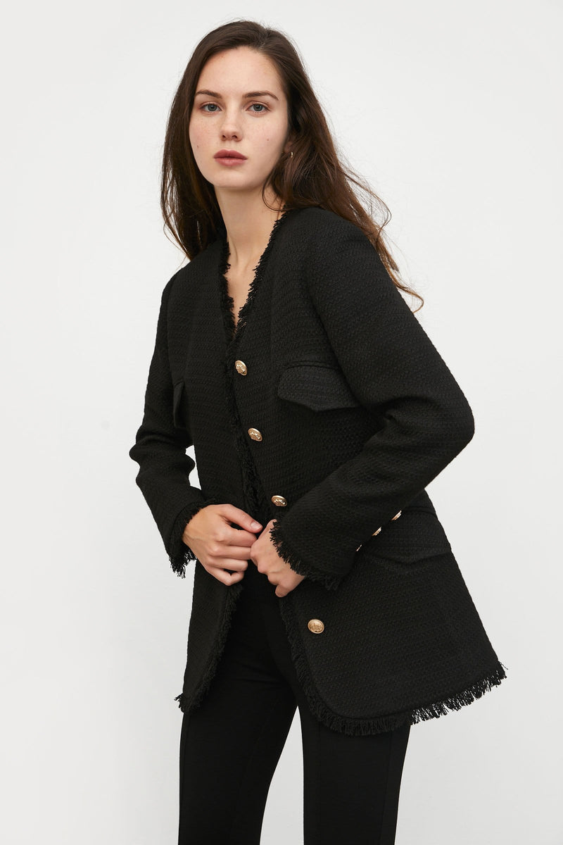 Melia Black Tweed Coat