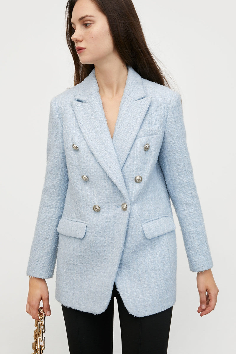 Adelta Blue Tweed Coat
