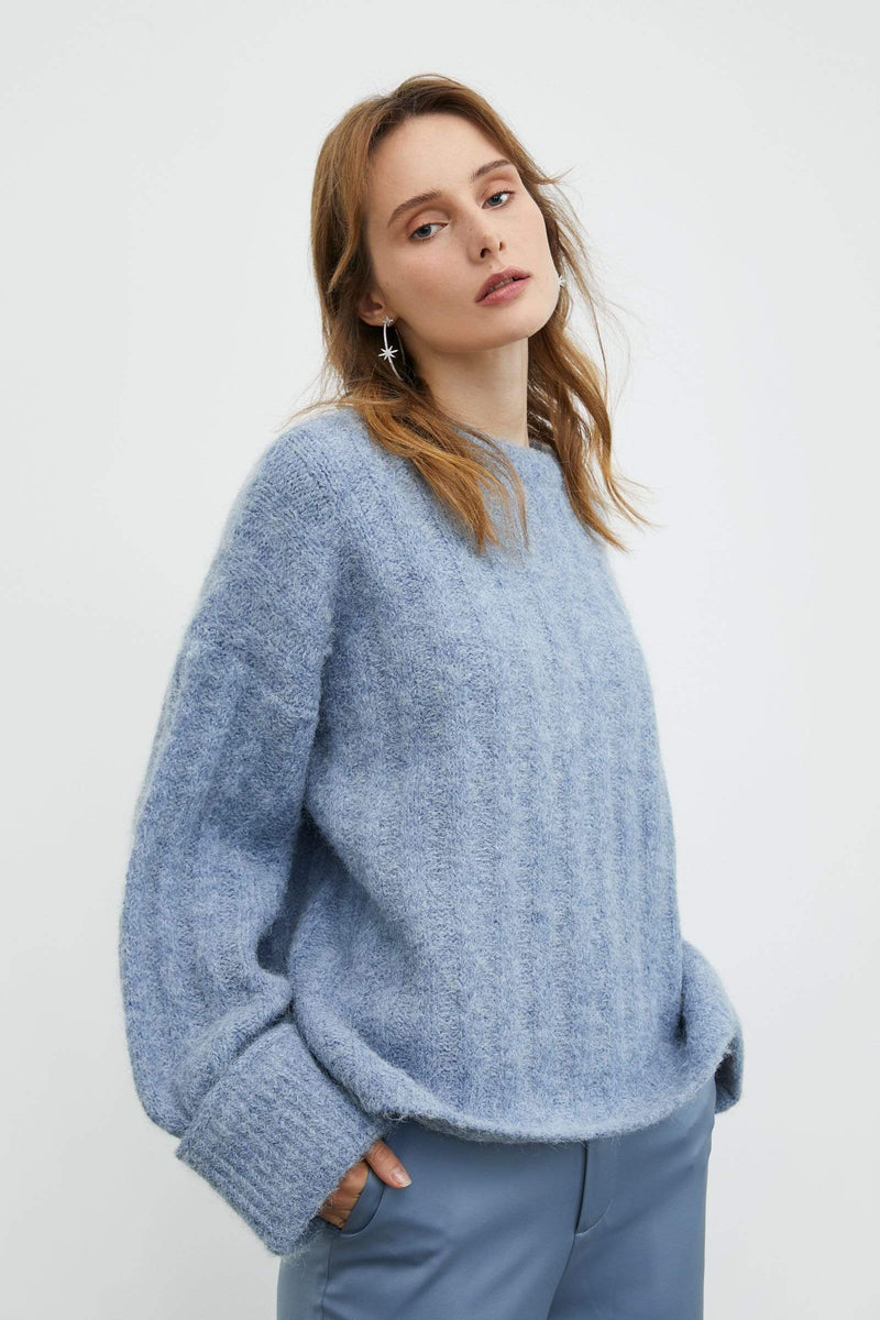 Marietta Blue Ribbed Sweater