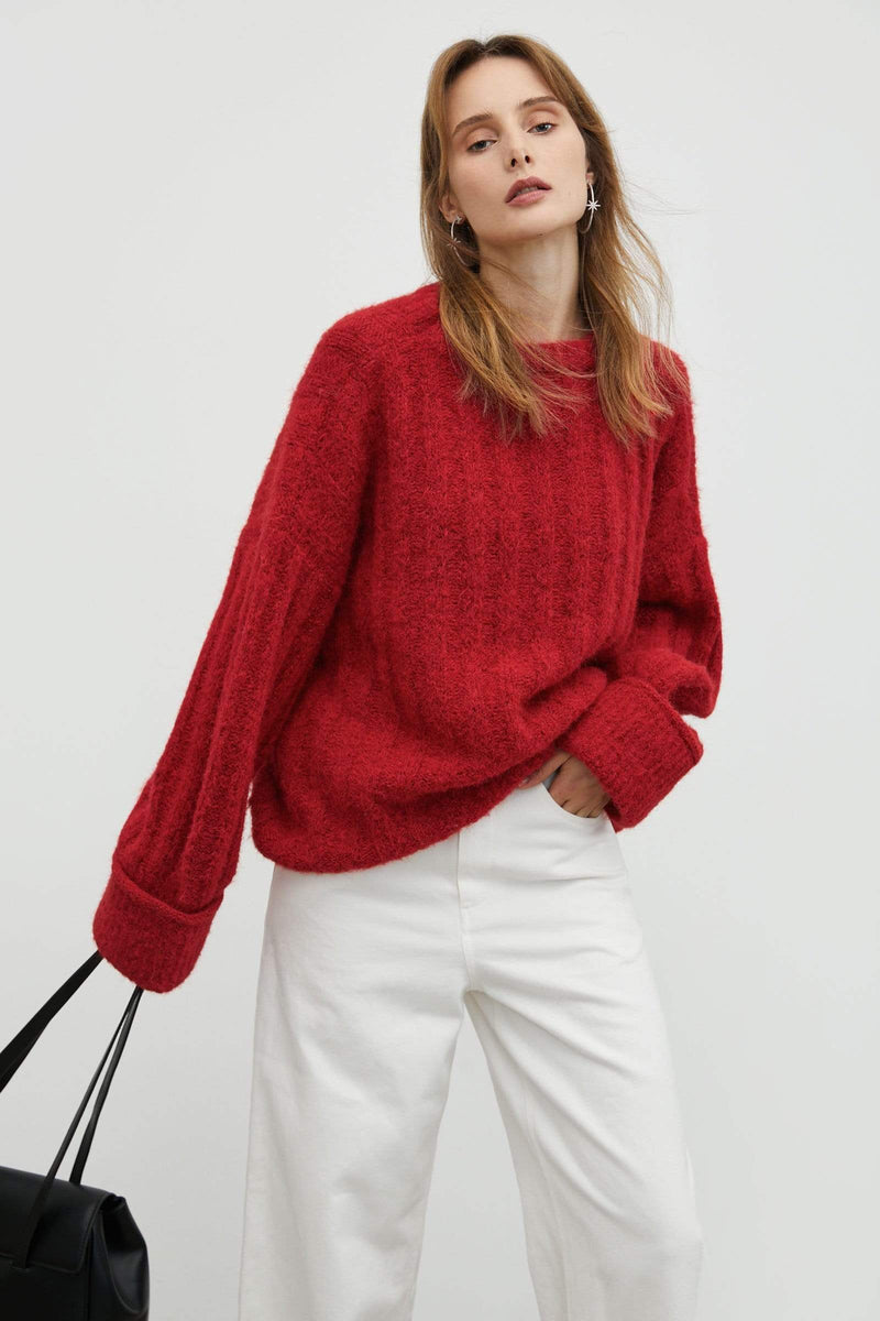 Marietta Red Ribbed Sweater