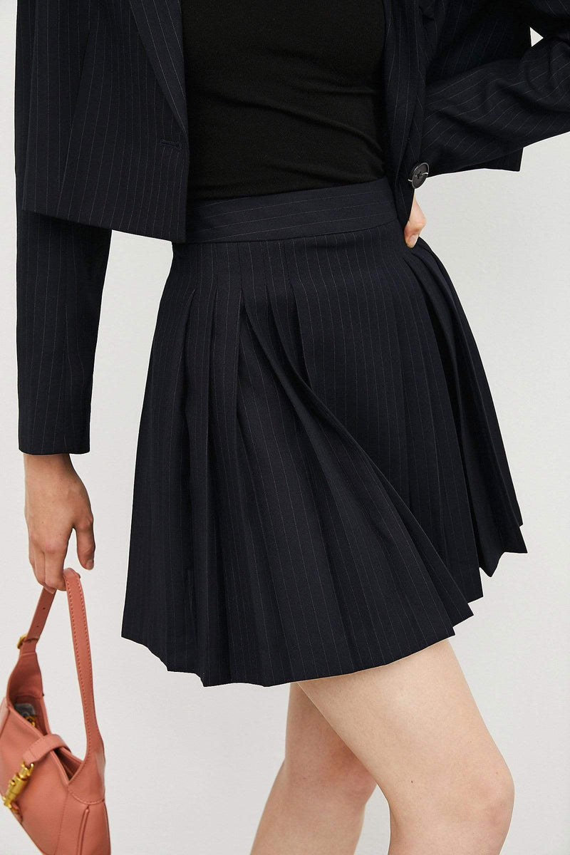 Sophie Navy Pleated Skirt