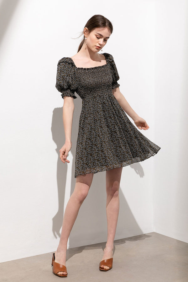 Suzy Black Puff Sleeve Floral Mini Dress