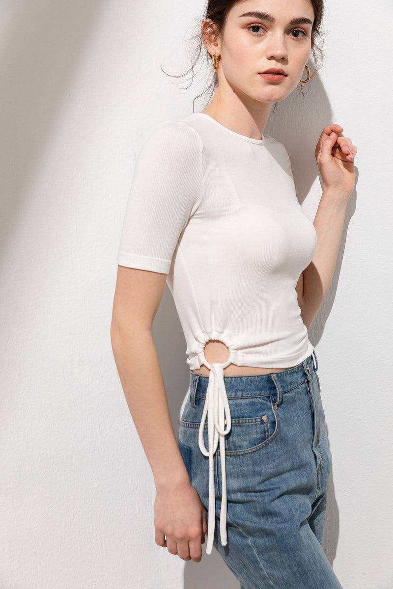 Maddie White Tie-Ring Ruched Top