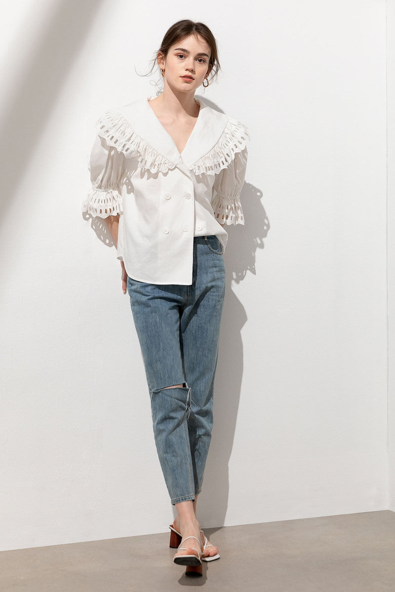 Elizabeth Ruffle Sailor Collar Blouse