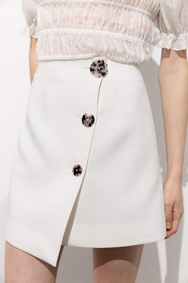 Stacey White Button Envelope Skirt