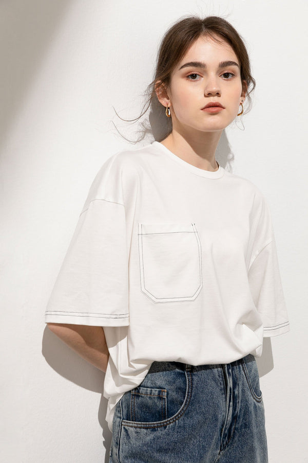 Cindy White Contrast Trim Tee