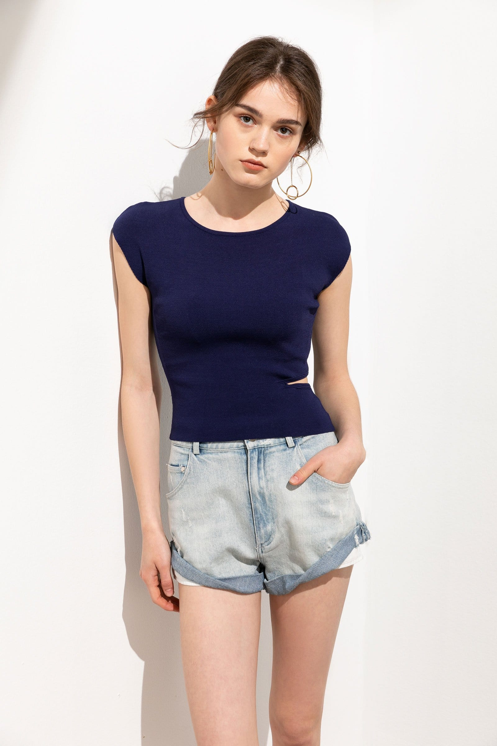Callie Blue Cutout Basic Tee