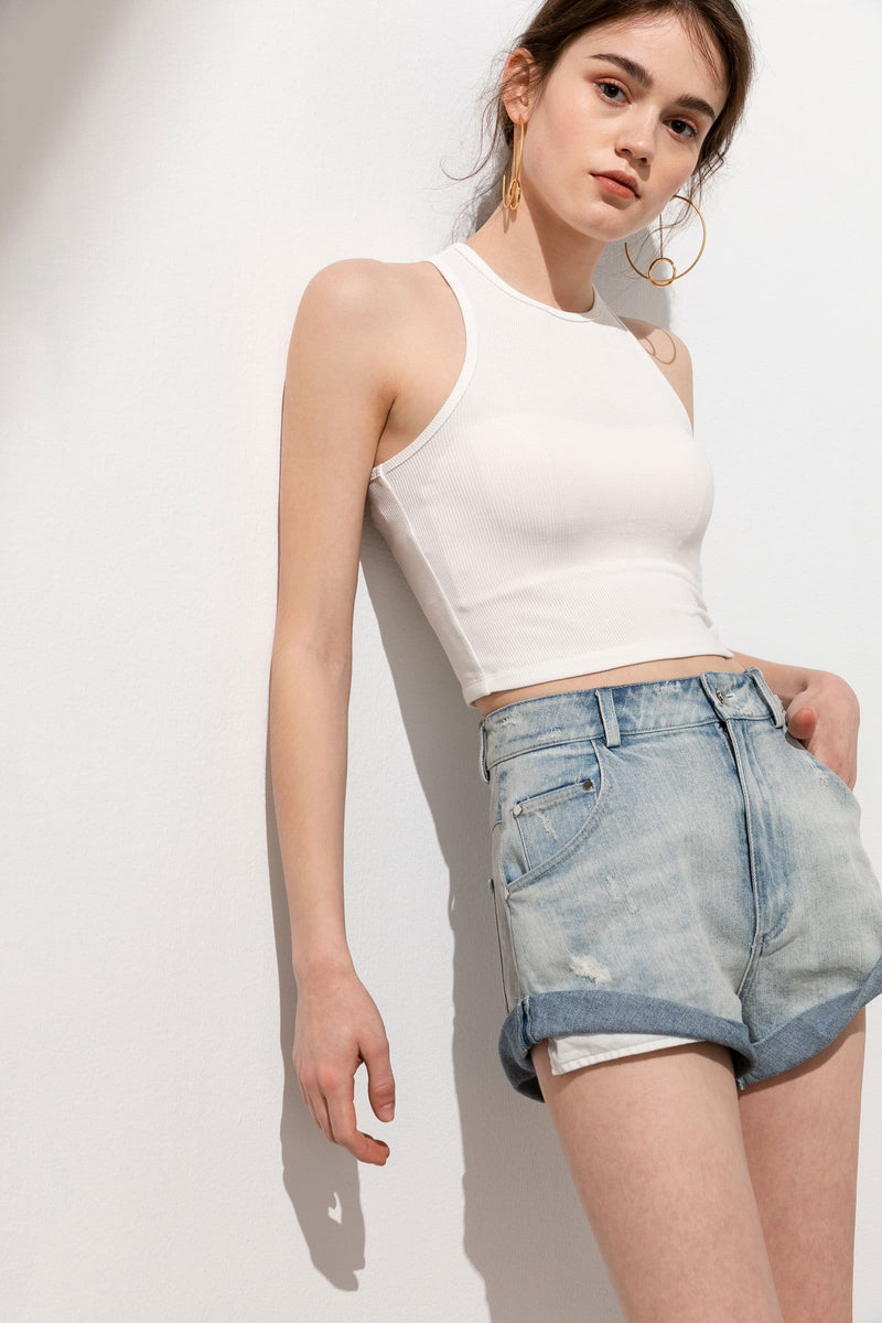 Basic White Ribbed Crop Tank