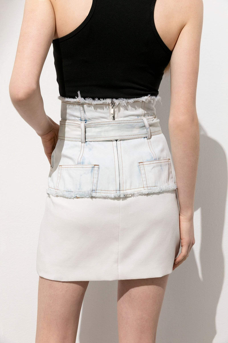 Kelly White Acid-Wash Mini Skirt