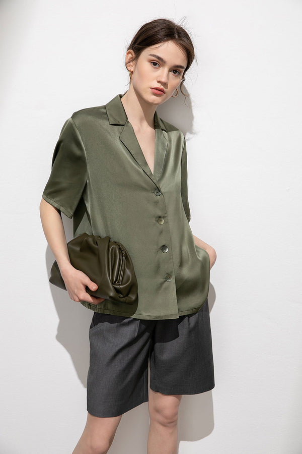 Olive Martini Satin Button Blouse