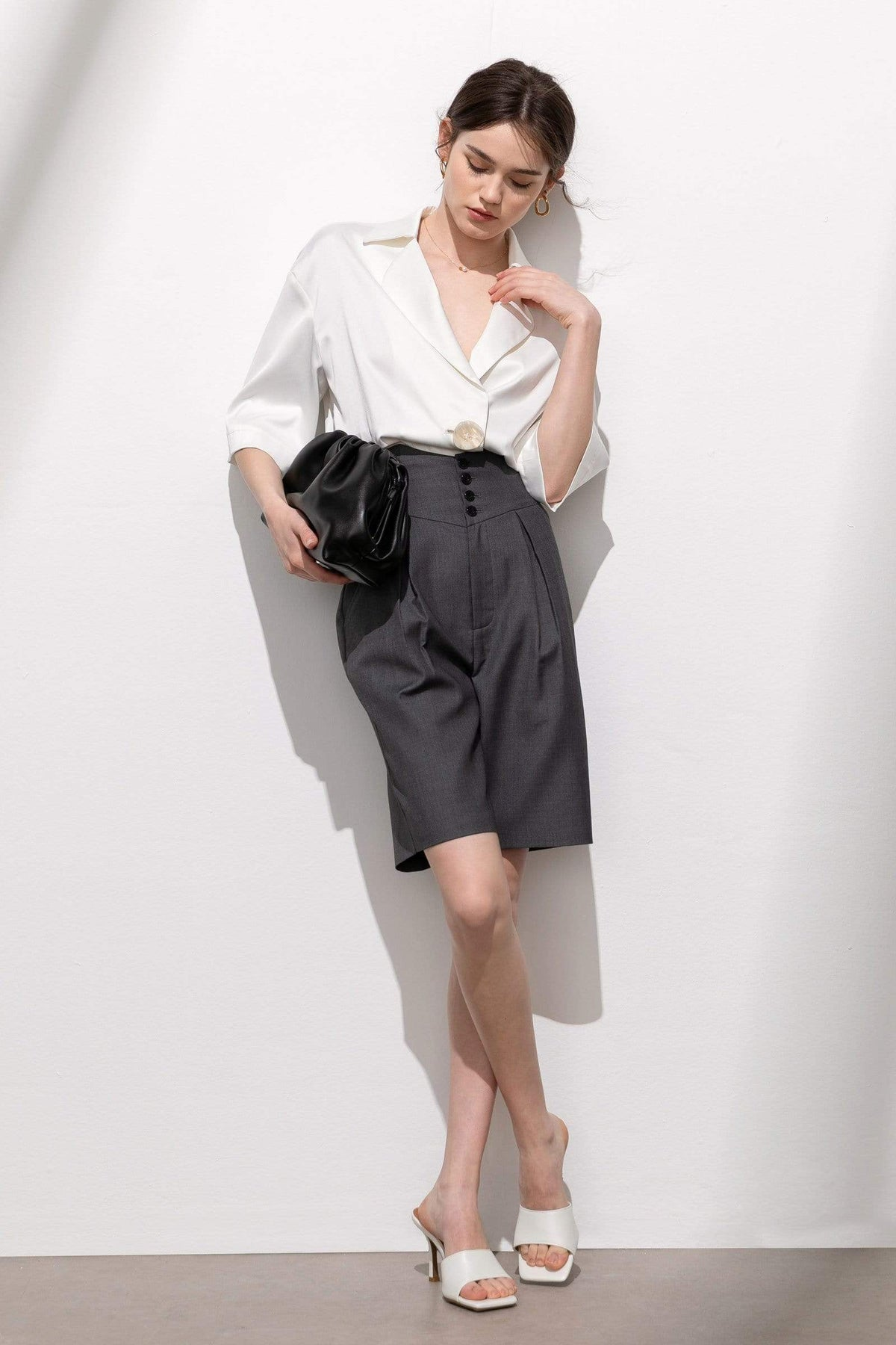 Portia Charcoal High-Waist Pleated Shorts