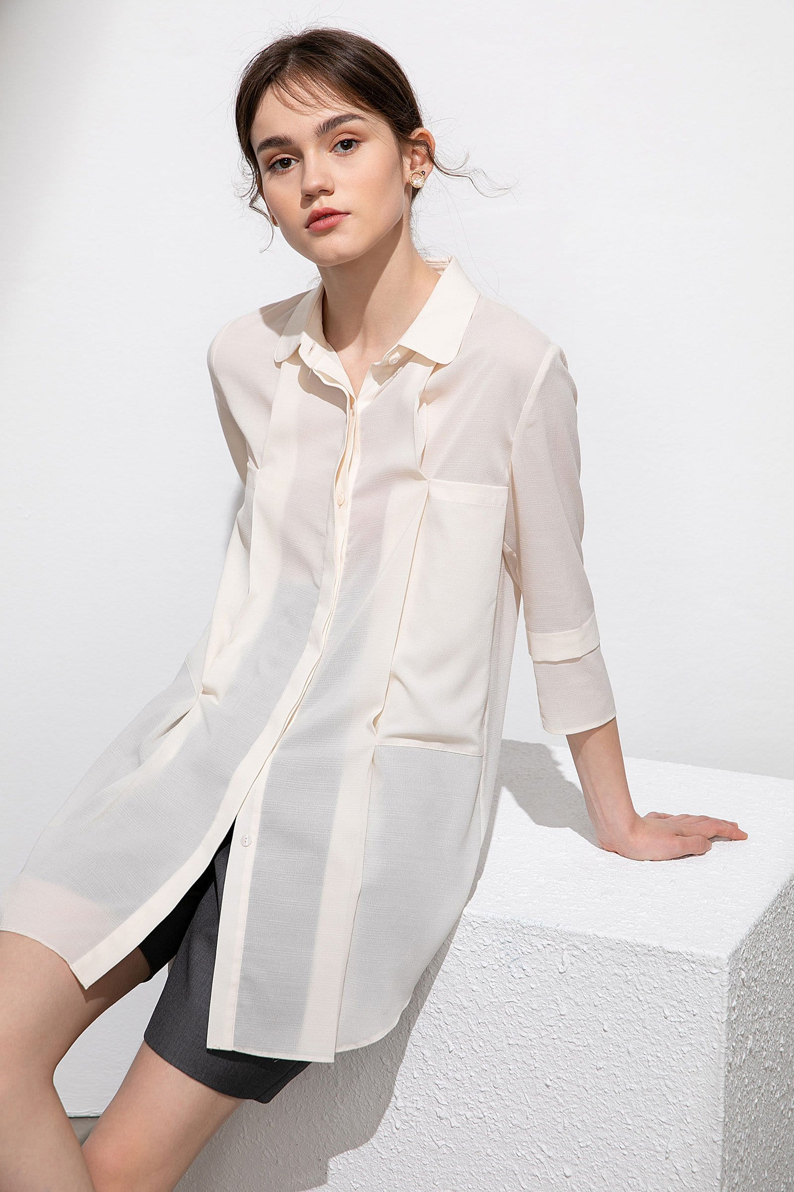 Rachel Basic Beige Shirt Dress
