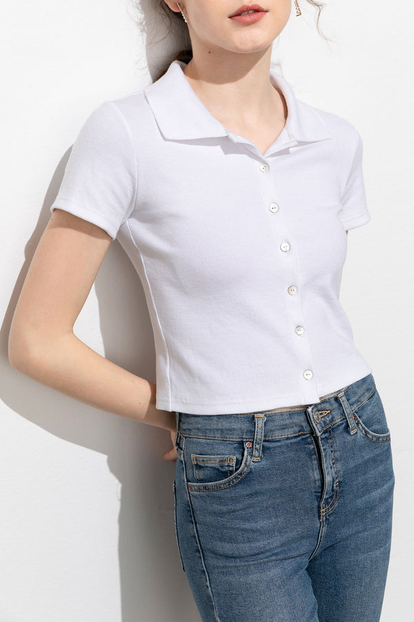 Demure White Button-Up Crop