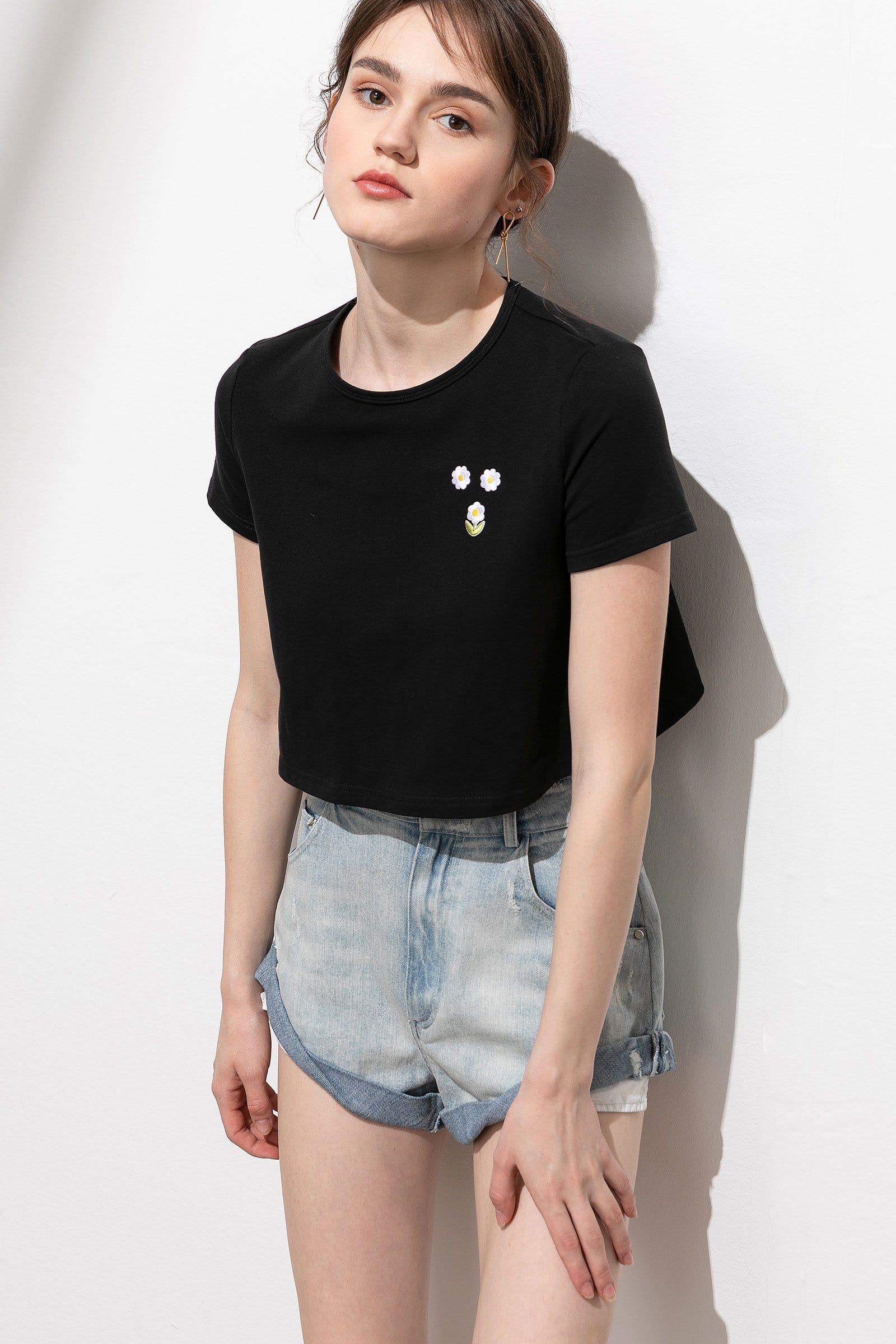 Petite Daisy Black Embroidered Crop Tee