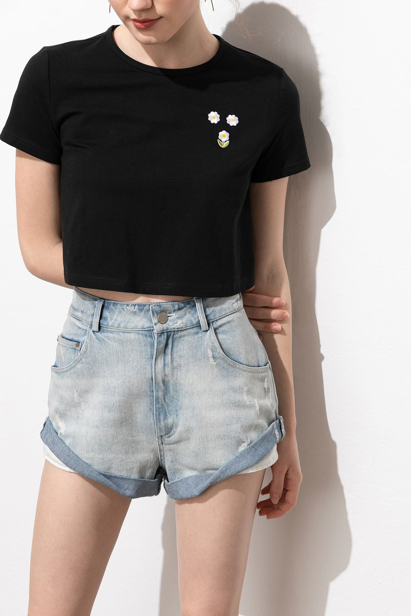 Aisha Rolled Cuff Denim Shorts