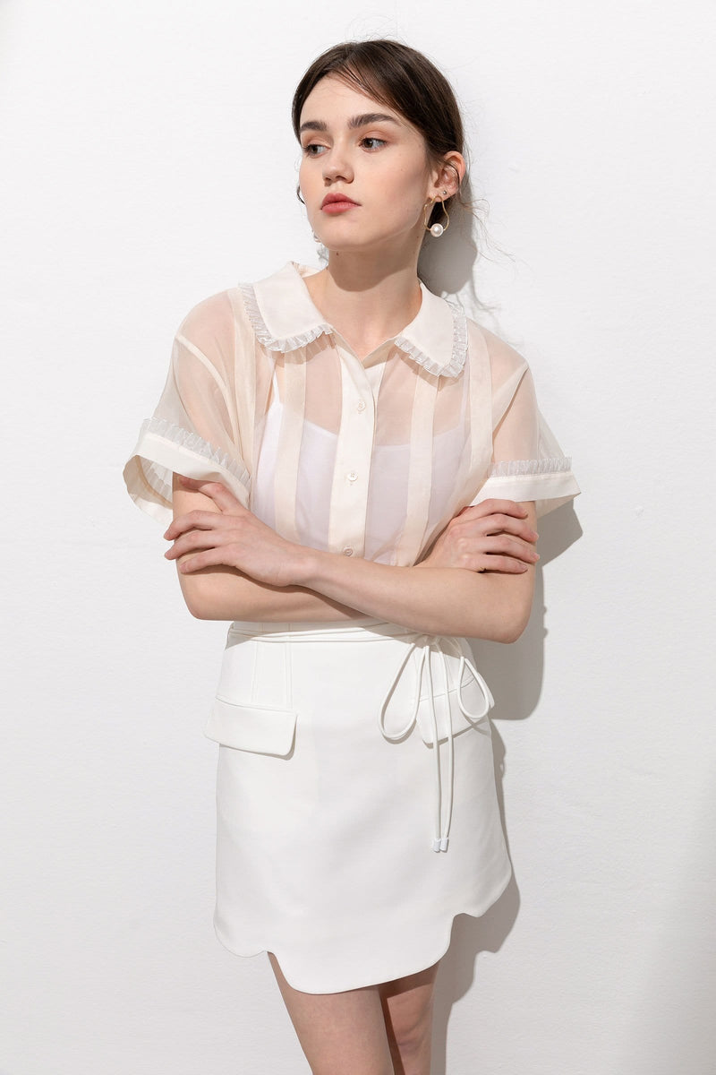 Colette Cream Sheer Ruffle Trim Blouse