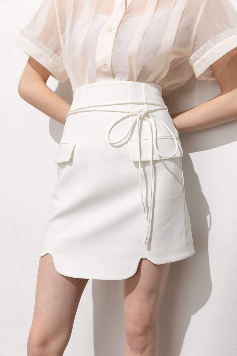 Ellory White Belted Pocket Mini Skirt