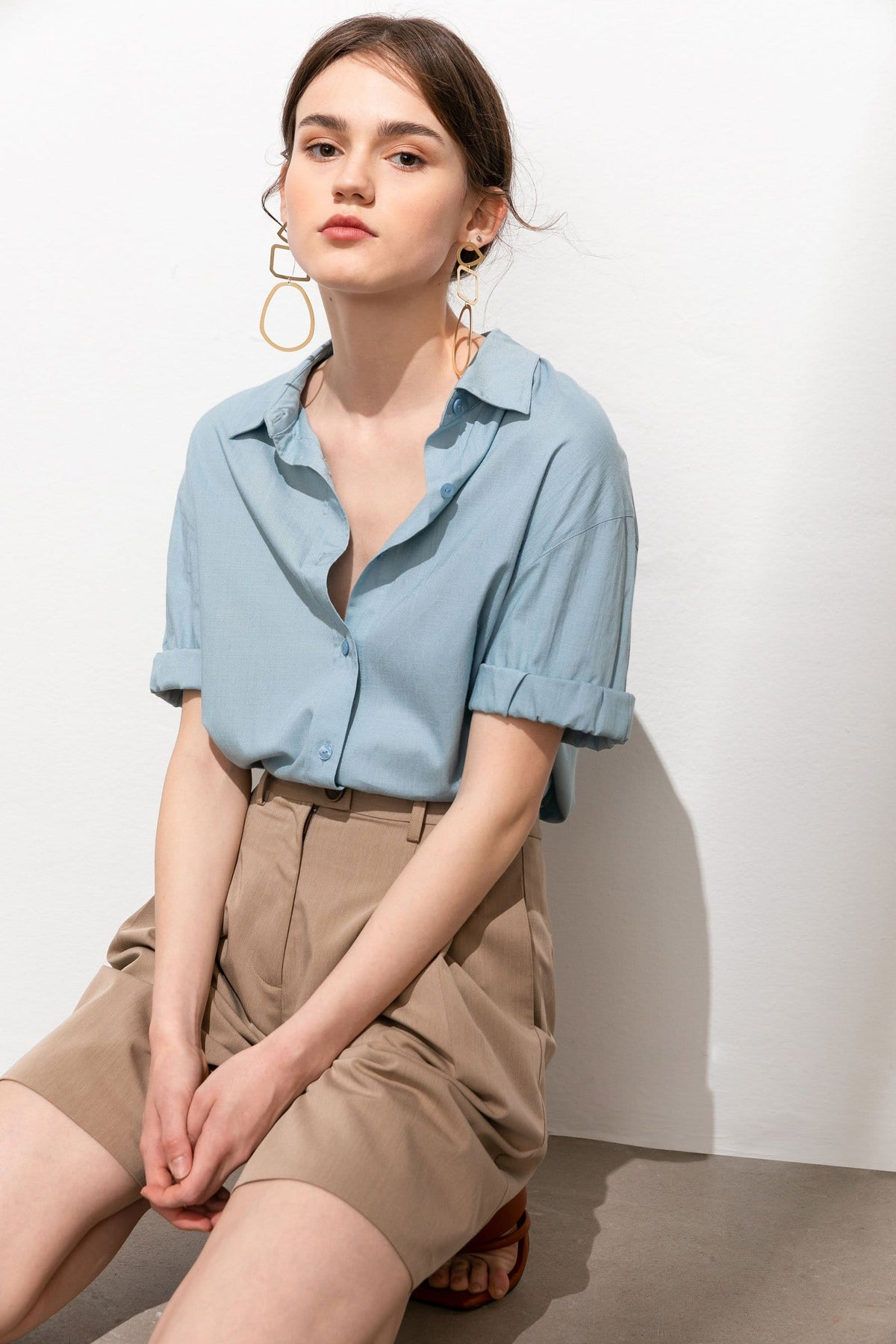 Tessa Blue Short Sleeve Librarian Blouse