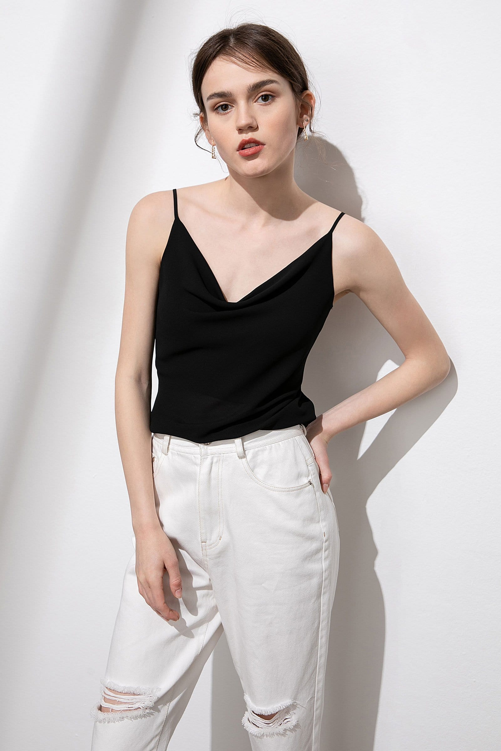 Safie Black Cowl Neck Silky Top