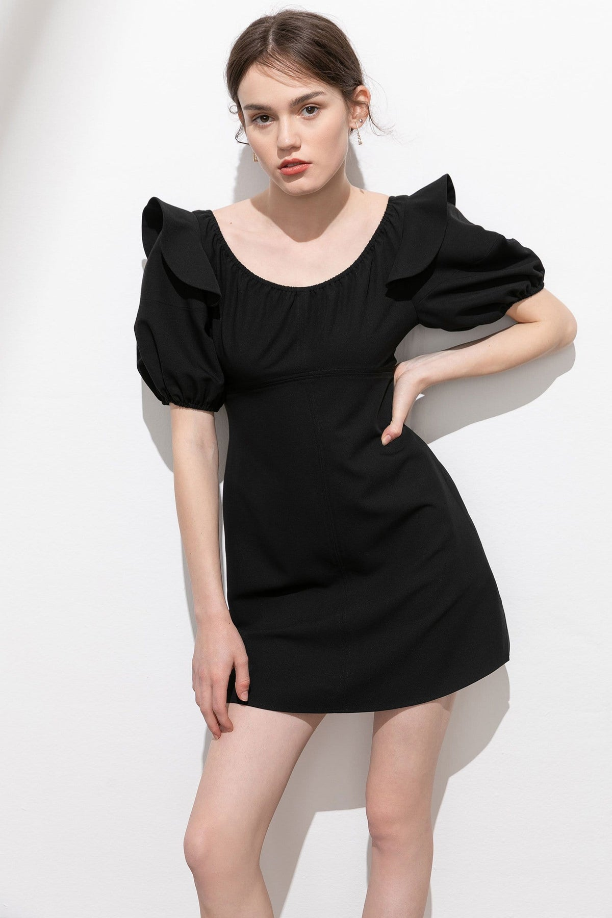 Elaine Black Puff Sleeve Dress