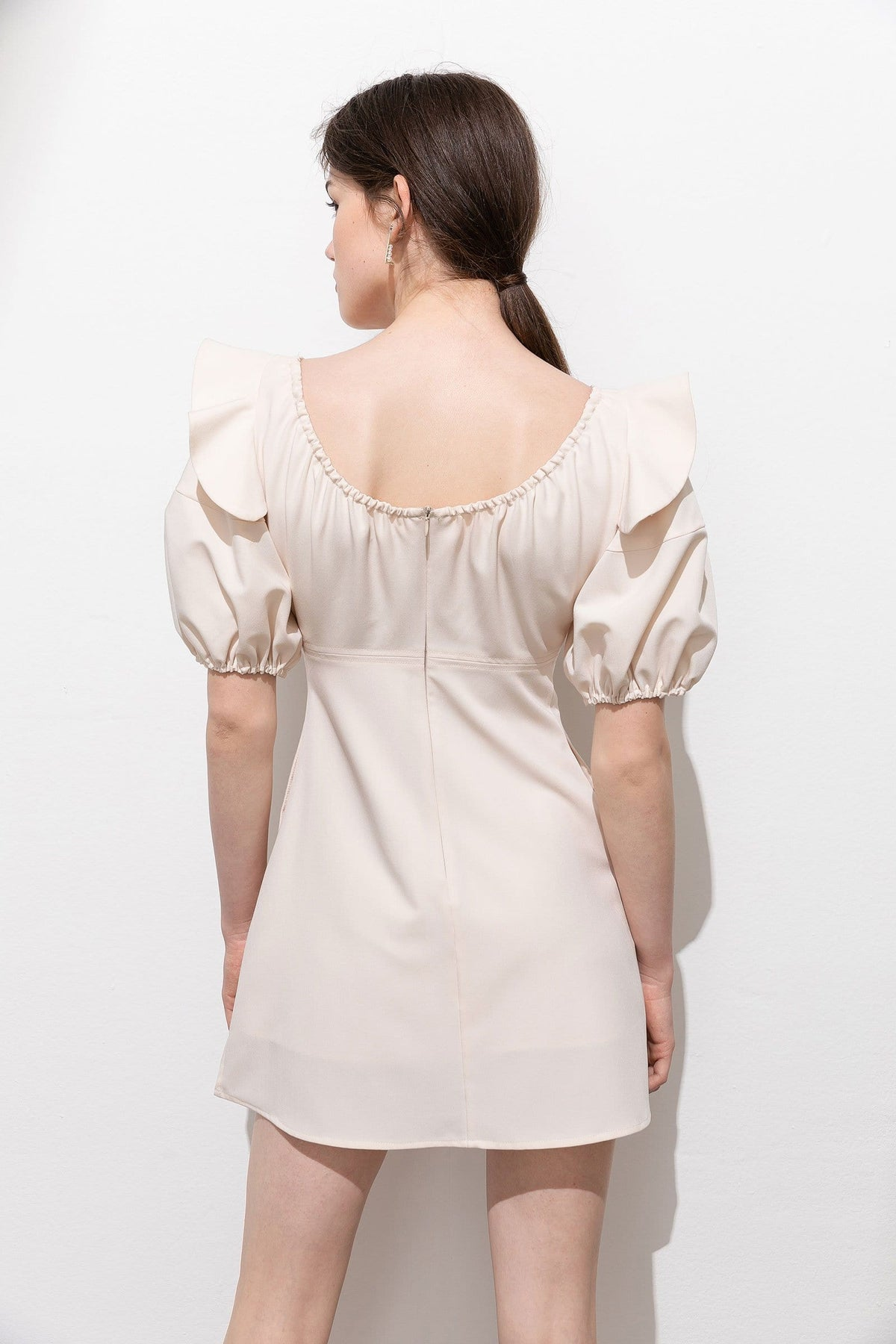 Elaine Cream Puff Sleeve Dress