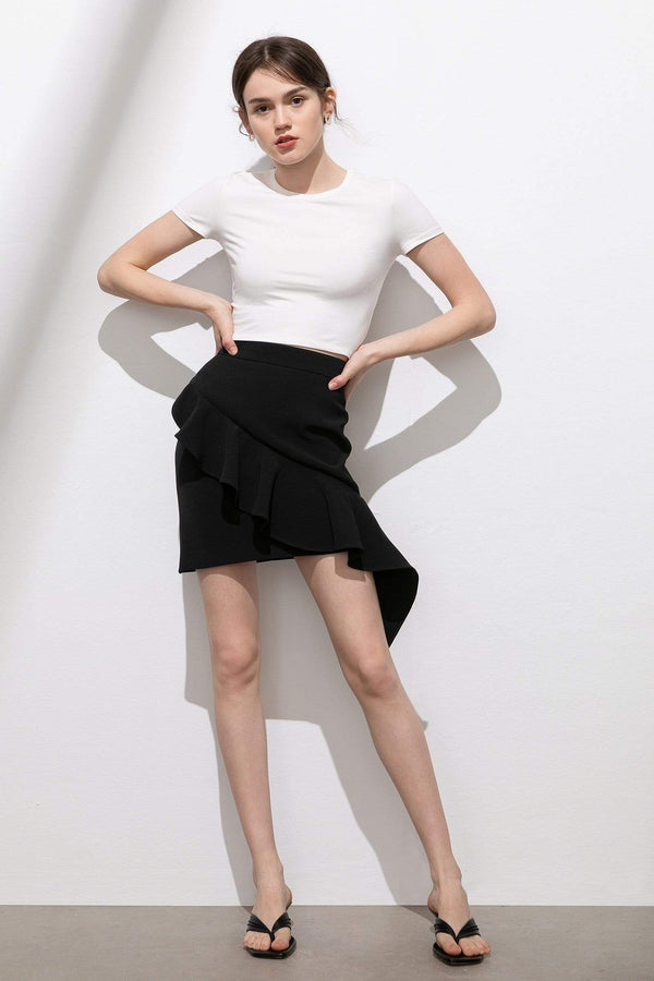 Nora Black Asymmetrical Ruffle Skirt