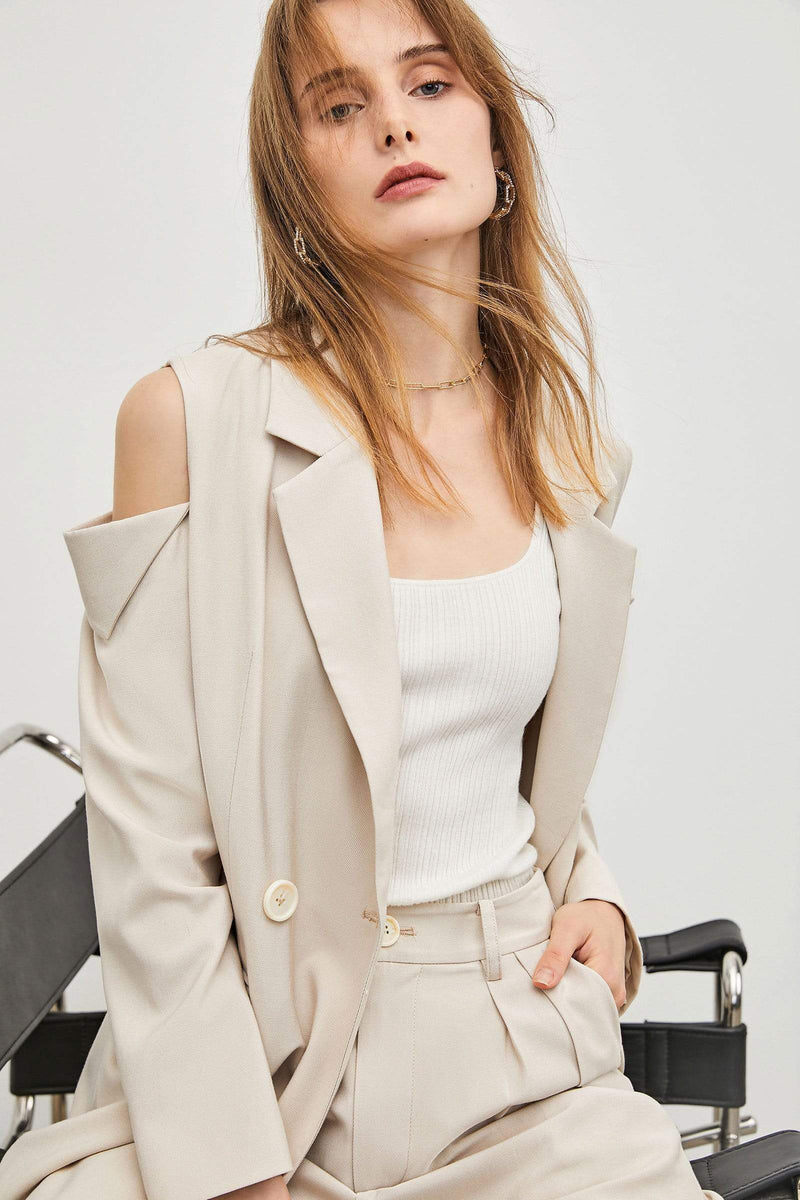 Business Essential Beige Belted Blazer