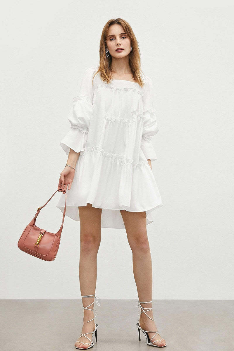 Penelope White Peasant Dress