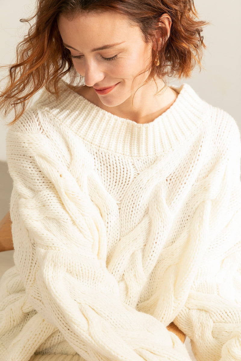 Cisley White Cable Knit Sweater