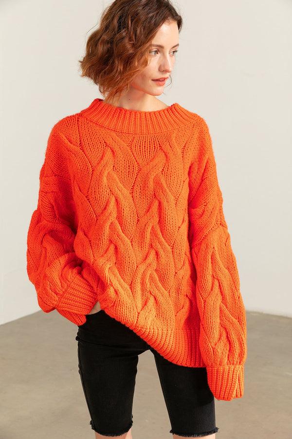 Cisley Orange Cable Knit Sweater