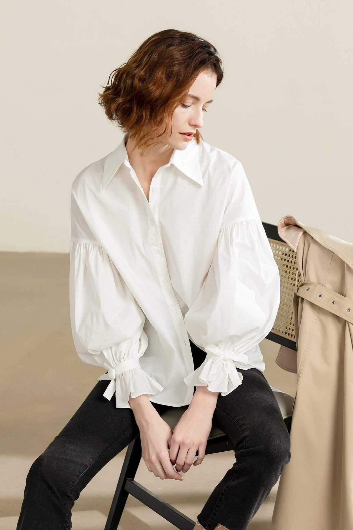 Erika White Ribbon Cuffed Blouse