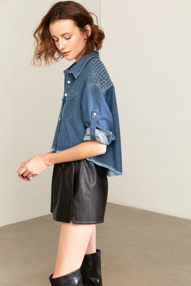 Sharon Denim Cropped Blouse