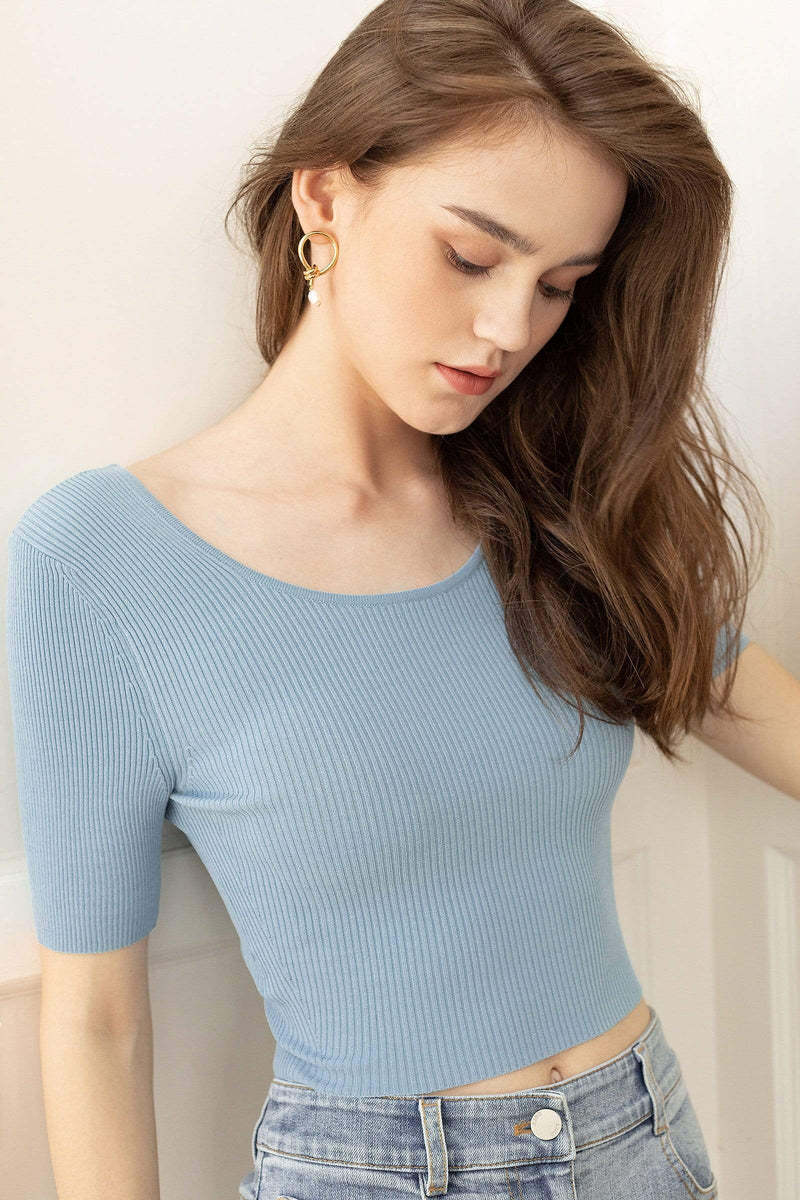 Essential Blue Scoop Neck Tee
