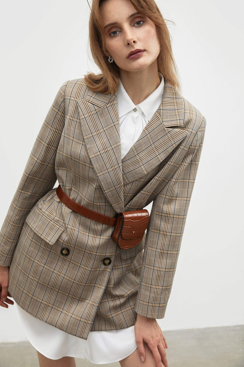 Gen Plaid Oversized Blazer
