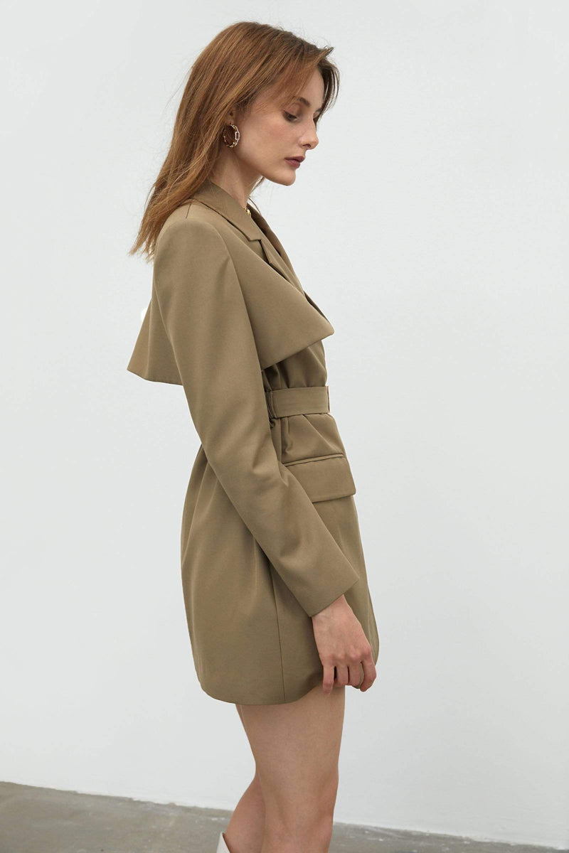 Military Tan Belted Jacket