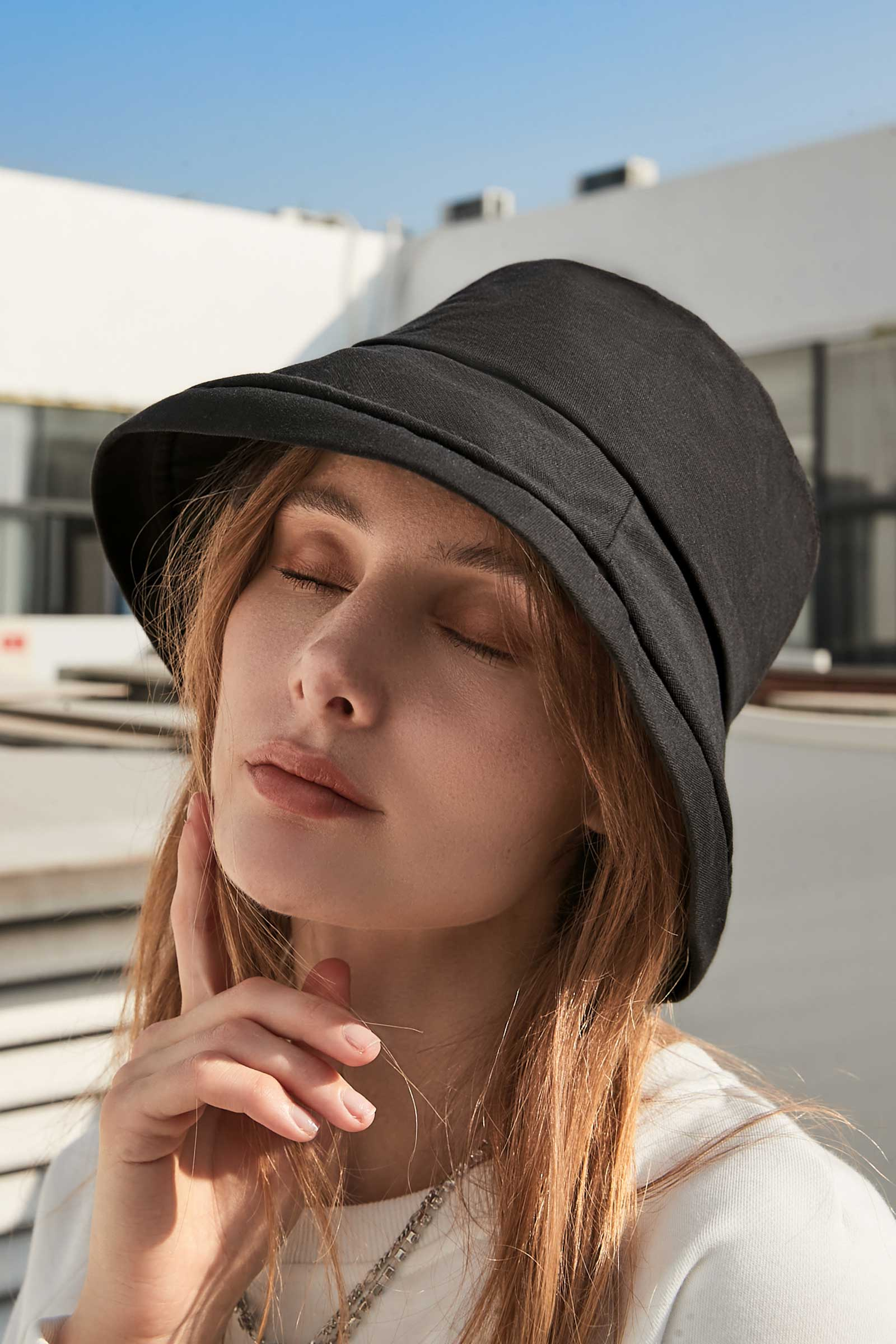 Dani Black Wide Brimmed Bucket Hat