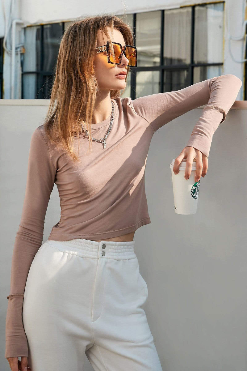 Crop Tan Long Sleeve Tee