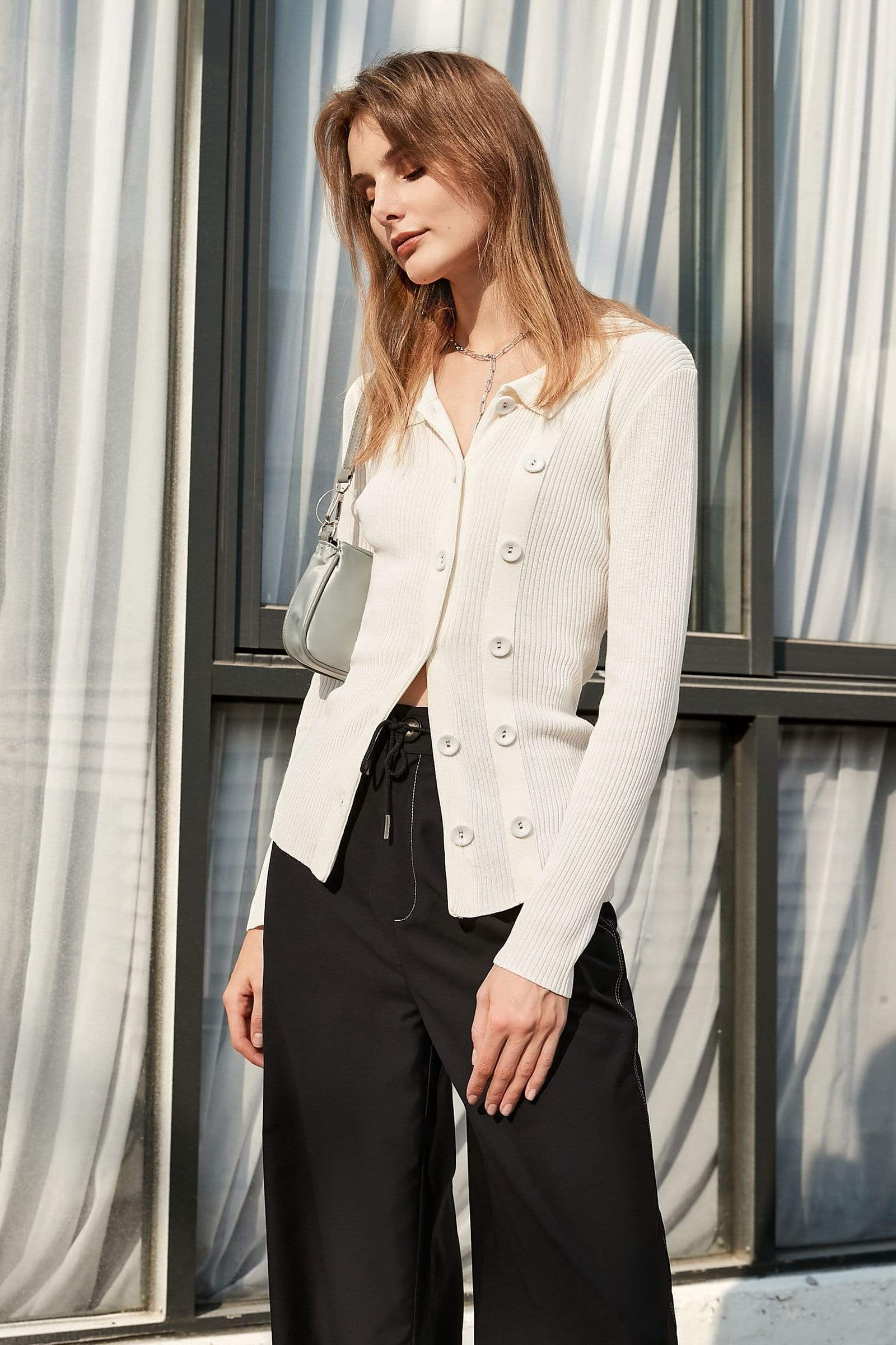 Button White Blazer Cardigan