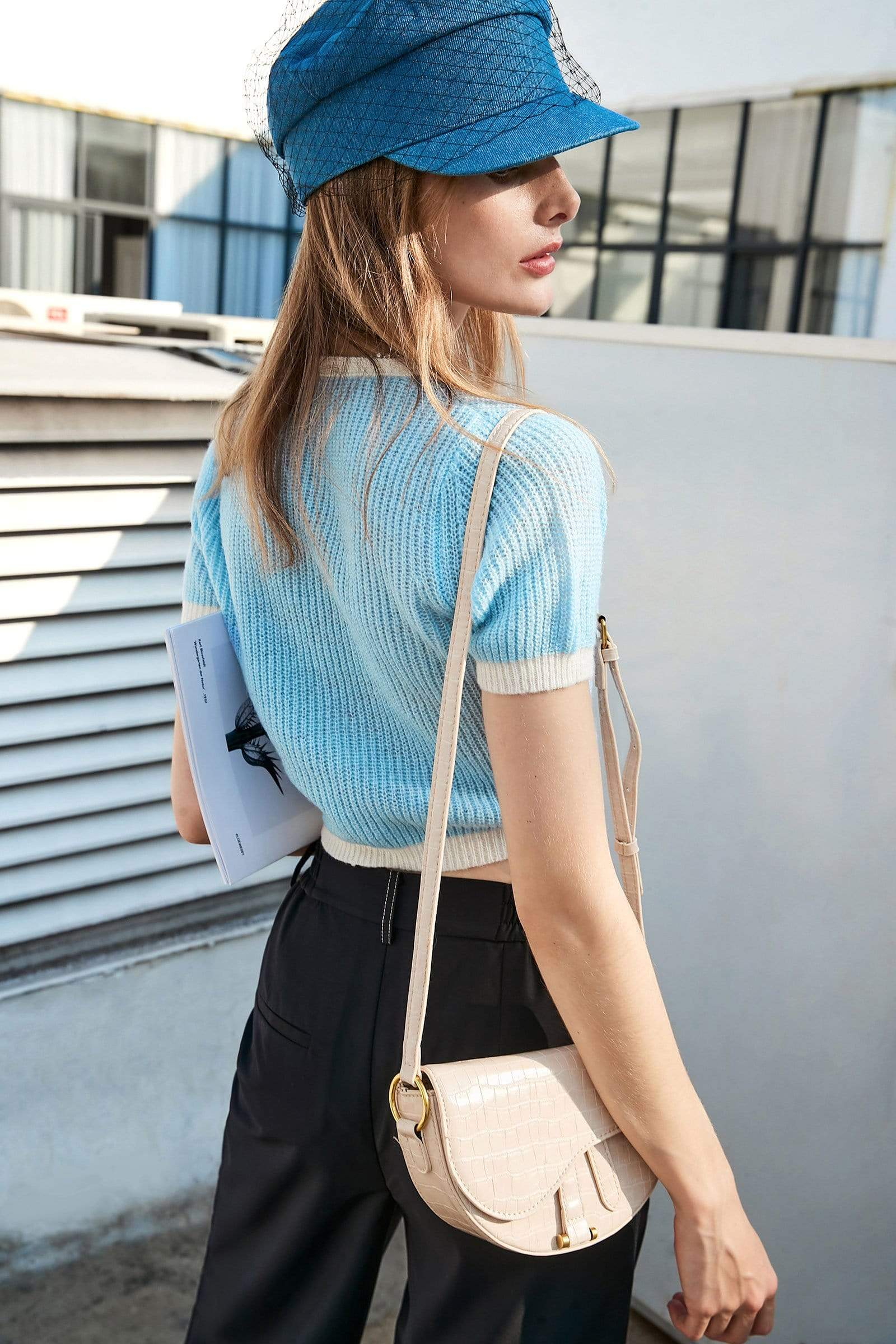 Crop Blue Contrast Cardigan