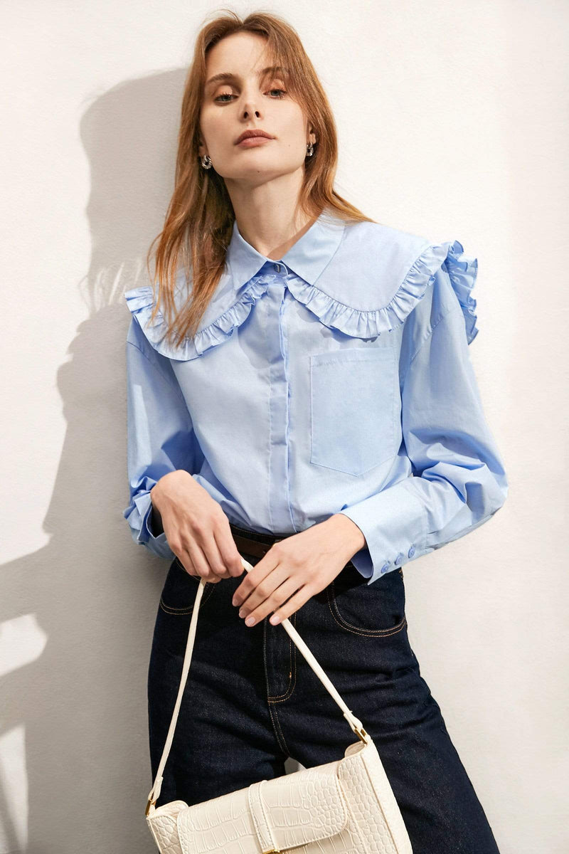Annette Blue Collar Blouse