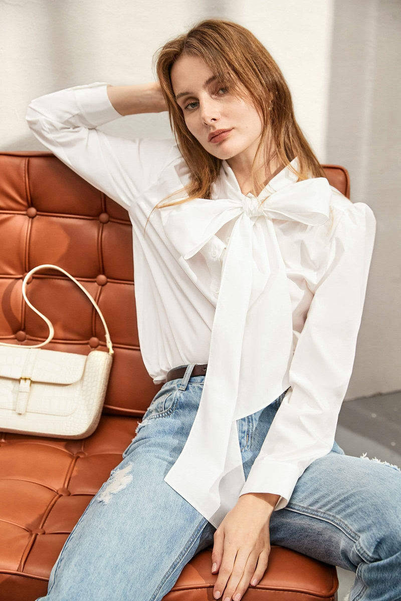 Celine White Bow Blouse