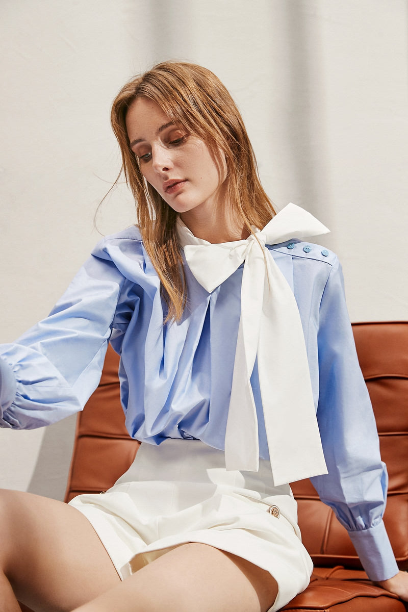 Bow Blue Contrast Shirt