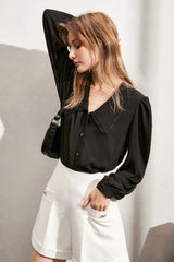 Vintage Black Collar Blouse